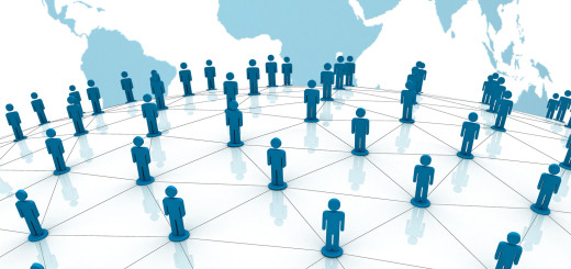 Social network concept on world globe map